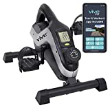 Vive Magnetic Pedal Exerciser (App Included) - Stationary Bike Mini Peddler for Indoor Spin Cycling - Under Desk Home and Office Exercise - Portable Workout For Seniors and Adults - PT for Arm and Leg