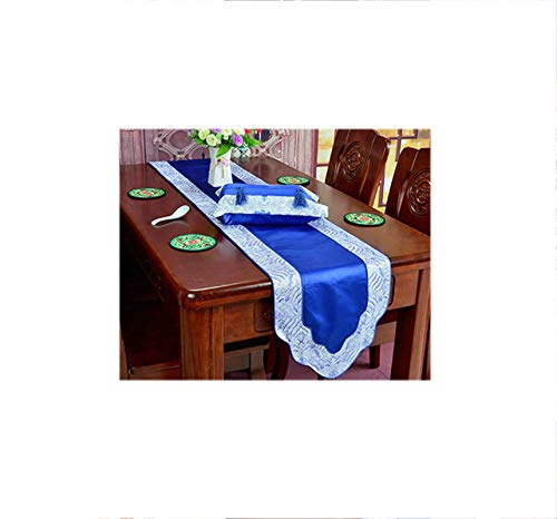 ANAZOZ Dining Table Runner 13 x 79 Inches Satin Table Runner Splicing Style Seawater Blue Table Runner for Dining Table