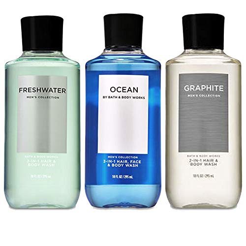 Bath and Body Works 3 Pack 2-in-1 Hair + Body Wash Freshwater, Graphite and Ocean. 10 Oz.