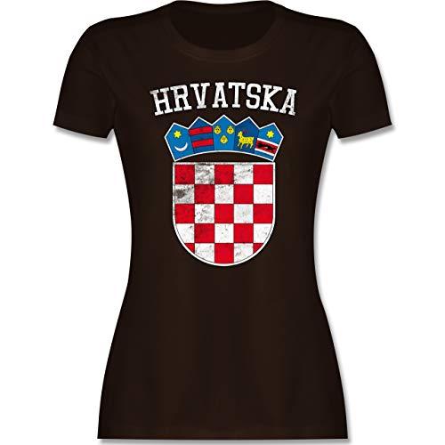 Fußball-Europameisterschaft 2020 - Kroatien Wappen WM - XXL - Braun - kroatische Tshirt - L191 - Tailliertes Tshirt für Damen und Frauen T-Shirt