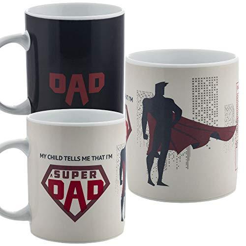 InGwest. Funny Coffee Mug for Super Dad. Best Dad Ever. 11 ounce. Changing Color Mug. Ceramic Heat Sensitive Color Changing Mug. Novelty Heat Sensitive Mug