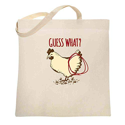 Guess What? Chicken Butt Funny Natural 15x15 inches Large Canvas Tote Bag Women