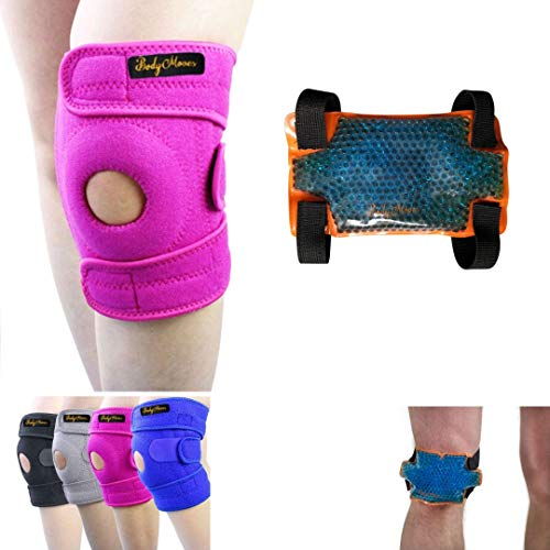 BodyMoves Kid's Knee Brace Support Plus Hot and Cold Ice gel Pack for stabilizing patella meniscus tear ligament injury prevention (SWEET PINK)