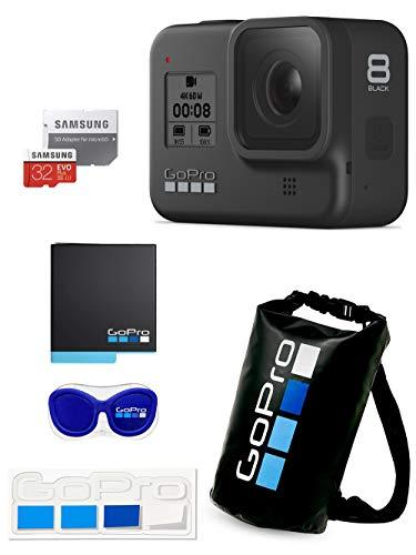 【GoPro公式限定】GoPro HERO8 Black + 予備バッテリー + 認定microSDカード32GB + 公式ストア限定非売品 メガホルダー(青) & ドライバッグ & ステッカー 【国内正規品】