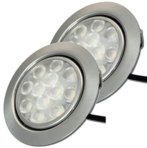 Möbeleinbaustrahler 55mm LED 12V super flach 2 x 3W Einbauleuchten Leonie inkl. Kabel mit Mini Stecker 3200K Warmweiß