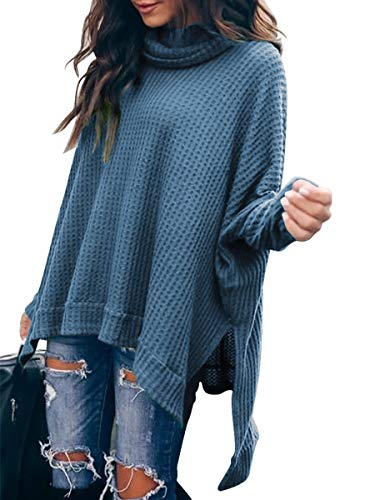 Caracilia Women Oversized Cowl Neck Sweaters Long Sleeve Loose Fit Knitted Pullover Blue Sweater C8A3-lanse-M