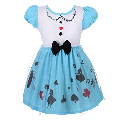Lito Angels Deguisement Robe Princesse Alice au Pays des Merveilles Enfants Filles Costume Halloween Fête Anniversaire Cosplay Carnaval Bleu Taille 2-3 Ans