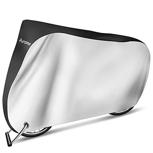 Puroma Bike Cover Outdoor Waterproof Bicycle Covers Rain Sun UV Dust Wind Proof with Lock Hole for Mountain Road Electric Bike, XL(Black & Silver)