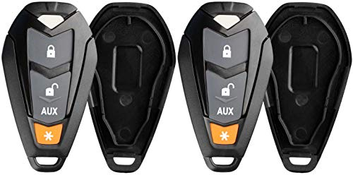 KeylessOption Keyless Entry Remote Control Starter Car Key Fob Case Shell Outer Cover Button Pad For Viper EZSDEI7141 474V (Pack of 2)