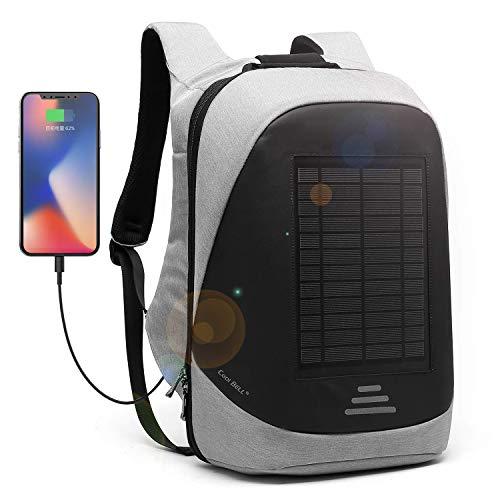 CoolBELL 15,6 Zoll Laptop Rucksack mit USB Ladeanschluss Stadt Anti-Diebstahl Tasche Functional Knapsack leicht wasserdicht Rucksack für Herren/Damen (15,6 Zoll, Grau-Solarpanel)