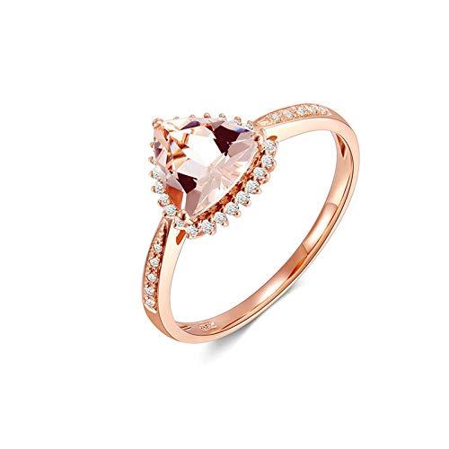AueDsa Ringe Rosegold 18 Karat (750) Rotgold Ringe für Damen Dreieck Morganite Pink Claro Weiß 1ct Größe 45 (14.3)