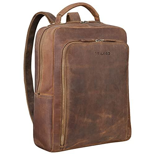 STILORD \'Orlando\' Business Rucksack Herren Leder Daypack Rucksack für Arbeit Office Büro Uni Vintage Lederrucksack für DIN A4 Ordner aus Echtem Leder, Farbe:mittel - braun