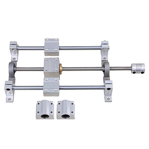 Horizontale Doppelschiene Silber und Grau 250 mm 8 mm T8-Schienenwellenhalterung und Gewindespindelkupplung 15er-Set