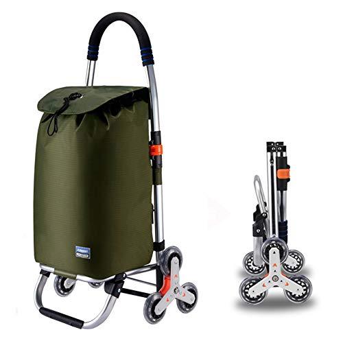 Einkaufstrolley XXL mit großen Rädern in - extra großer Einkaufsroller Einkaufshilfe 50kg belastbar,Grün,6rounds