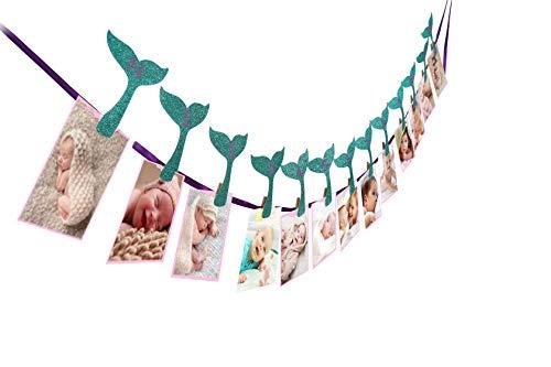 Mermaid Photo Banner, Sweet Heart First Birthday Photo Banner, Justborn To 12 Months Photo Banner, For Mermaid Party Decorations, Mermaid Party Supplies, Under The Sea,First Birthday Party Decorations