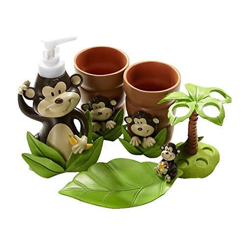 TXOZ-Q Linda de 5 Piezas de cerámica Juego de Accesorios, Cepillo de Dientes Titular, dispensador de jabón líquido for Lavar Platos, Vasos 2 Recuerdos Niños (Color : C)
