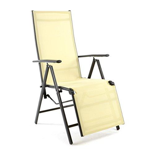 Nexos Alu Liegestuhl Klappstuhl mit Fußstütze Sonnenliege Campingliege Gartenliege Relaxstuhl Rahmen anthrazit Bespannung cremefarben stabil