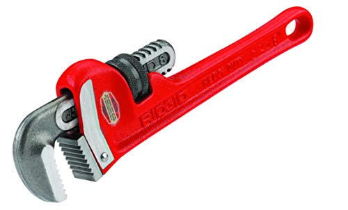 RIDGID 31005 Model 8 Heavy-Duty Straight Pipe Wrench, 8-inch Plumbing Wrench,Red,Small