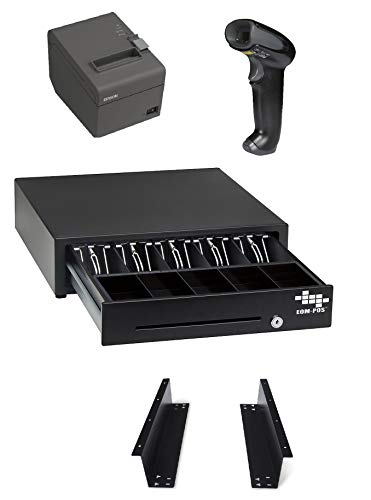 POS Hardware Bundle for Square - Cash Drawer, Mounting Brackets, Thermal Receipt Printer, Barcode Scanner [Compatible with Square Stand and Square Register]