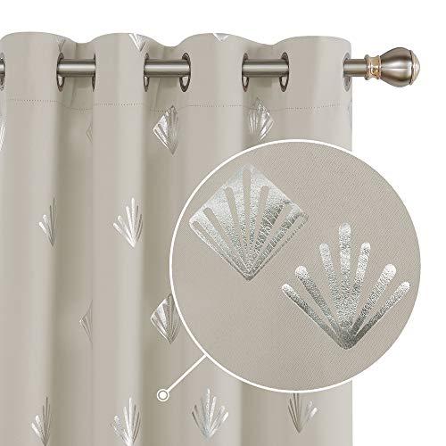 Deconovo Tende Oscuranti Termiche Isolanti per Finetre Moderne con Occhielli 140x260cm Beige Chiaro 2 Pannelli