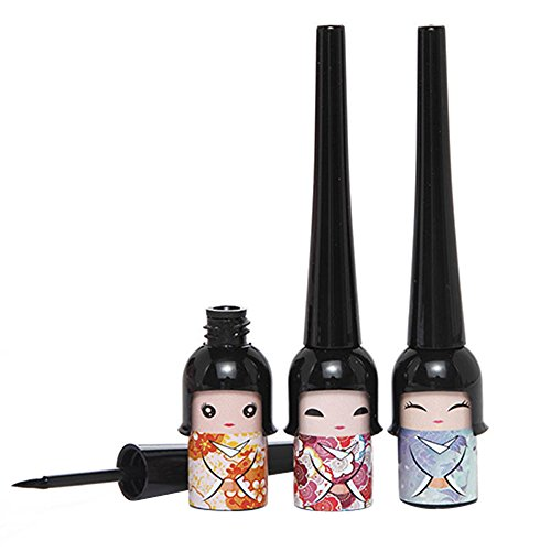 1x Cute Lucky Doll Black Waterproof Liquid Eyeliner Pen Makeup Cosmetic (Random Color) by Broadfashion