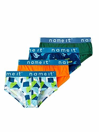 NAME IT Jungen NKMKENTO 4P Briefs WE Slips, Dark Green, 146-152