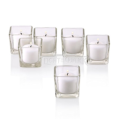 Light In The Dark Clear Glass Square Votive Candle Holders with White Votive Candles Burn 10 Hours Set of 72