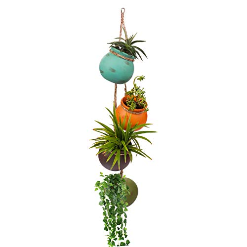 Maceta Colgante (4 Piezas) - Macetas para Colgar Cerámica Multicolor - Mini Colgador Macetas Pared o Techo Plantas Suculentas con Cuerda de Jute –para Interiores o Exteriores Oficina, Hogar, Jardín