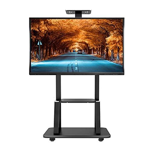 De Pantalla De TV Móvil para Pantalla Plana Led LCD De 55/65/70/75 Pulgadas | Soporte De Suelo Rodante Soporte Regulable En Altura con Ruedas Y 2 Estantes, Carga 105Kg