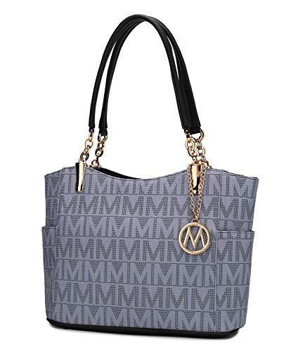 Mia K Collection Shoulder Handbag for Women: Vegan Leather Satchel-Tote Bag, Top-Handle Purse, Ladies Pocketbook Grey