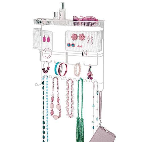 mDesign Colgador de joyas – El perfecto joyero organizador para pendientes y otros accesorios – Colgador ideal para colgar collares o pulseras y organizar bisutería – blanco