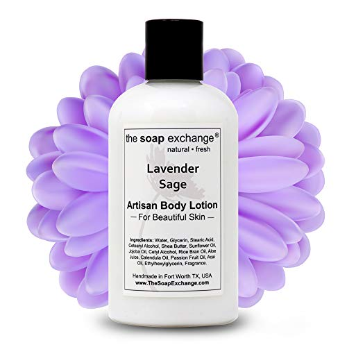The Soap Exchange Body Lotion - Lavender Sage Scent - Hand Crafted 8 fl oz / 240 ml Natural Artisan Skin Care for Hand, Face, & Body, Moisturize, Hydrate, & Protect. Made in the USA.