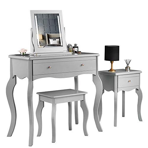 Sorrento - Grey Dressing Table Side Table With Drawer Rose Gold Handles Stool and Mirror with LED Lights Four Piece Set