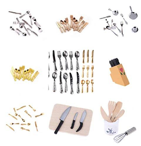 GGOOD Mini Dollhouse Miniatures Vajilla Cubiertos Cuchara Tenedor 12pzas 01:12 Pastel Bloque Que Taja de la Cocina de Juguete Muebles Accesorios de muñecas