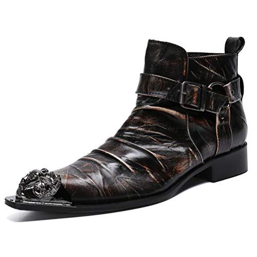 Insole Zapato Piel para Hombre, Botas De Cocodrilo Patrón De Cuero con Puntera Metálica Martin Botas Casuales De Los Hombres De Negocios para Office Boda,39