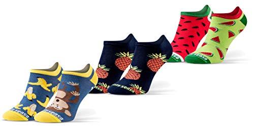 Sesto Senso Lustige Sneaker Socken Baumwolle Bunte Füßlinge Damen Herren 1-3 Paar Funny Socks Banane Ananas Wassermelone 39-42 3 Früchte