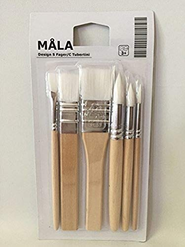 Ikea Mala Kids Painting Brushes Set of 6 Water Color Brushes in Synthetic Fiber by Mala