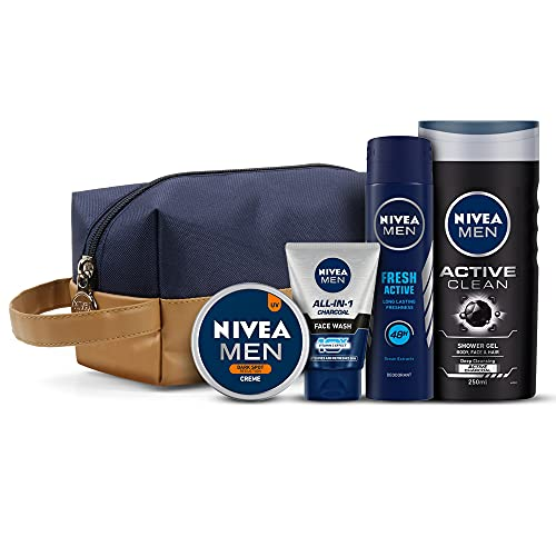 NIVEA Men Combo, Active Clean Shower Gel 250 Ml, Fresh Active Deodorant 150 Ml, All In One Charcoal Face Wash 100 G, Dark Spot Reduction Crème 75 Ml, With Grooming Pouch, 5 Pieces
