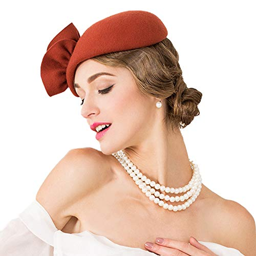 F FADVES Flower Womens Dress Fascinator Wool Felt Fedora French Pillbox Hat Party Wedding Teardrop Beret
