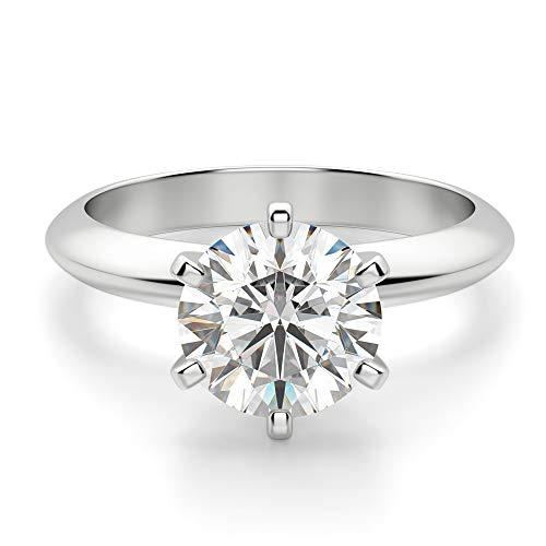 [koneko]3ct プラチナ ダイヤモンドリング(9.3 mm)リング3カラット VVSパーフェクトカット モアッサナイトリング 925スターリングシルバージュエリーリング 指輪 レディースダイヤモンドリング (リングサイズ13)