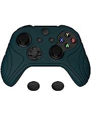 PlayVital Funda de Silicona para Control Xbox One S X Accesorios Protector Tacto Suave Carcasa Antideslizante con Tapas de Joystick Funda de Goma para Mando Xbox One S X(Edición Samurai-Oscuro Verde)