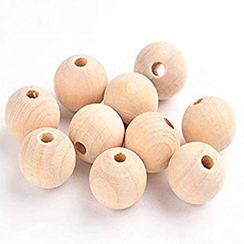Abalorios de Madera Natural(120 Pcs),Cuentas espaciadoras sueltas,cuentas intermedias, cuentas decorativas de madera para la fabricación de joyas de bricolaje.(14mm)
