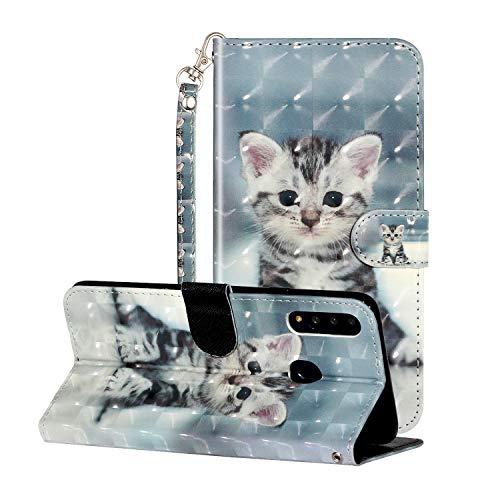i-Case 3D Effect Glitzer Kompatibel mit Samsung Galaxy A20s 6.5' Handyhülle Phone Cases PU Lederhülle Brieftasche Etui Handytasche Kartenfach Flip Tasche für Samsung Galaxy A20s,Süße Katze