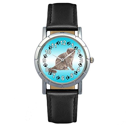 Timest - Scottish Fold Gato - Reloj para Mujer con Correa de Cuero Negro Analógico Cuarzo SA2661