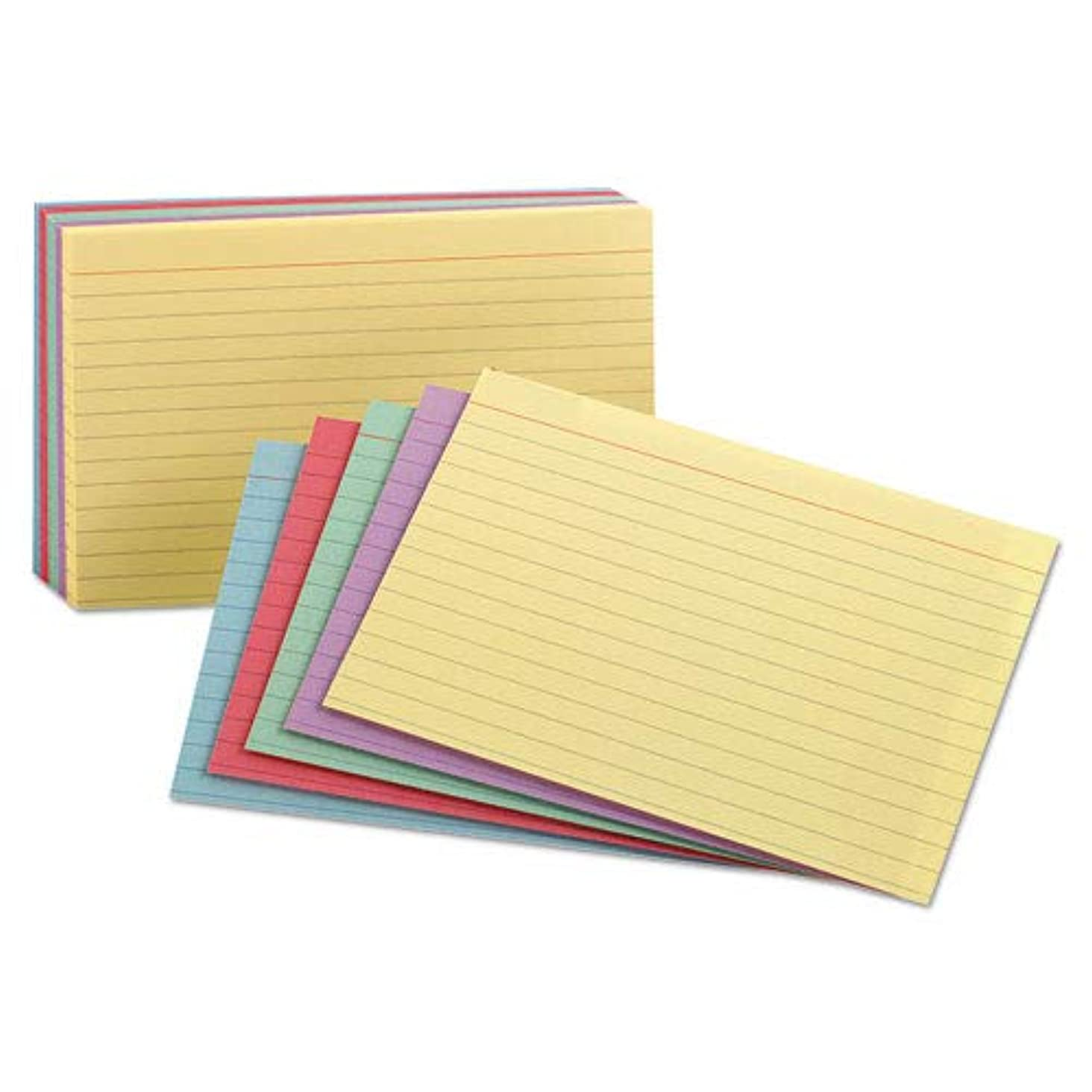 Oxford Index Cards, Assorted Colors, 5 x 8, Ruled, 5 Pack of 100 Cards, Total 500 Cards (35810)