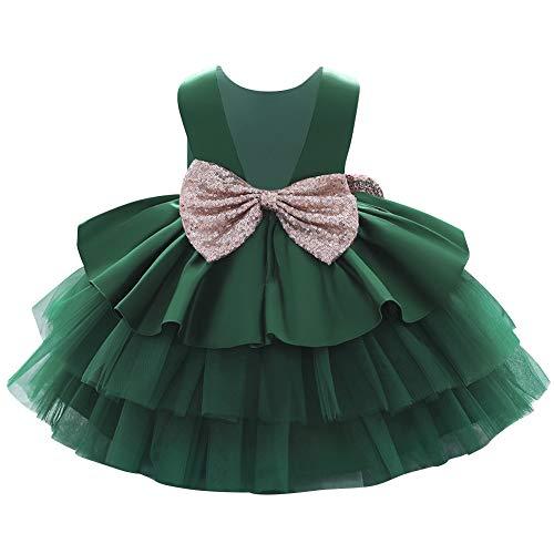 IMEKIS Kind Baby Mädchen Geburtstagskleid Ärmellose Pailletten Bowknot Tüll Tutu Prinzessin Hochzeitsfeier Taufkleid Festzug Ballkleid Grün 12-18 Monate