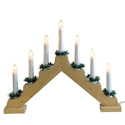 Multistore 2002 Kerzenbrücke mit 7 Lichtern, Natur, Lichterbogen Schwibbogen weihnachtliche Lichterdeko Indoor Dekoration