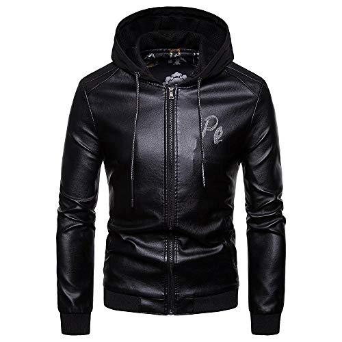 Heren Hooded Lederen Slim Heren Leren Jas Motorjas Warm Boutique Jas