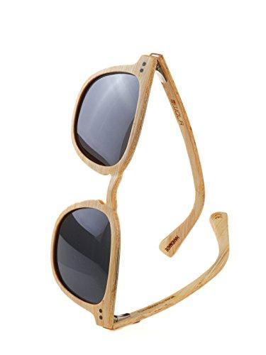 WOLA Sonnenbrille Holz HELIO Holzbrille Herren quadratisch schmale Brücke inkl Faltetui polarisiert UV400 Bambus