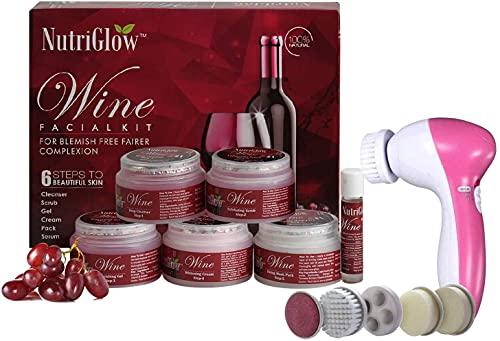 NutriGlow - Kit facial de vino para piel brillante instantánea, masajeador facial portátil, 260 g, hidrata tu piel, brillo de piel, kit facial para mujeres, todo tipo de piel 1